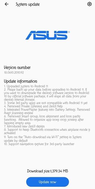 asus zenfone 6 android 11 beta 8
