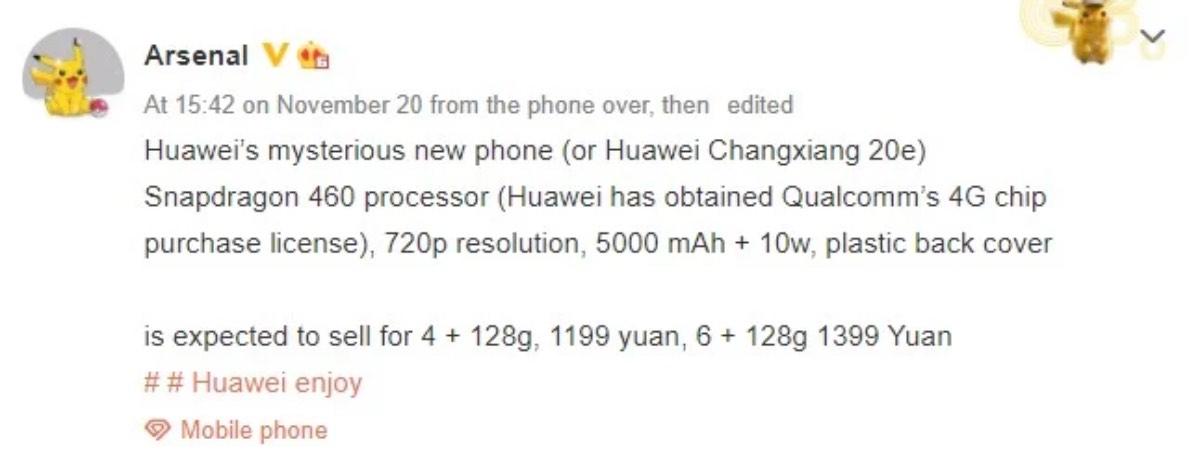 huawei enjoy 20e snapdragon 460