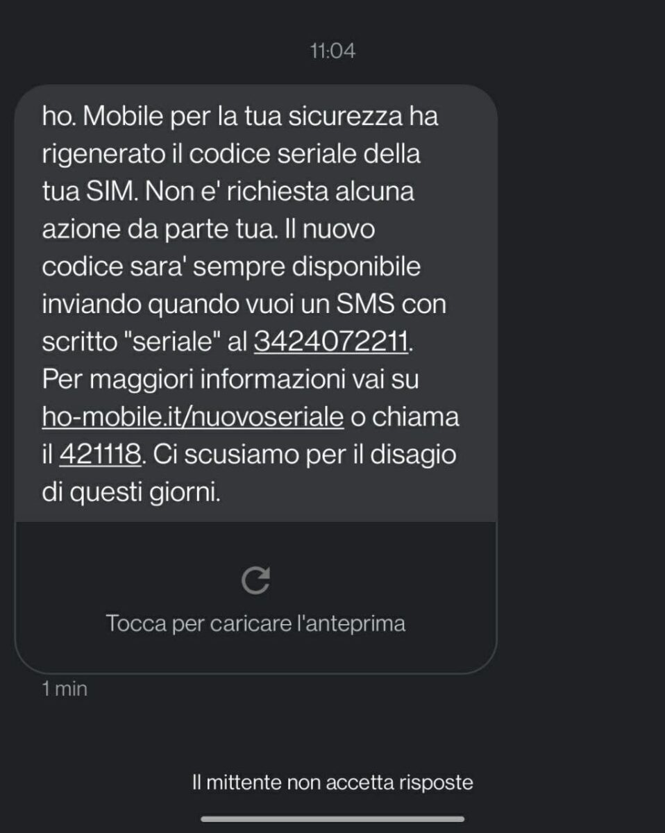 SMS cambio ICCD ho.mobile