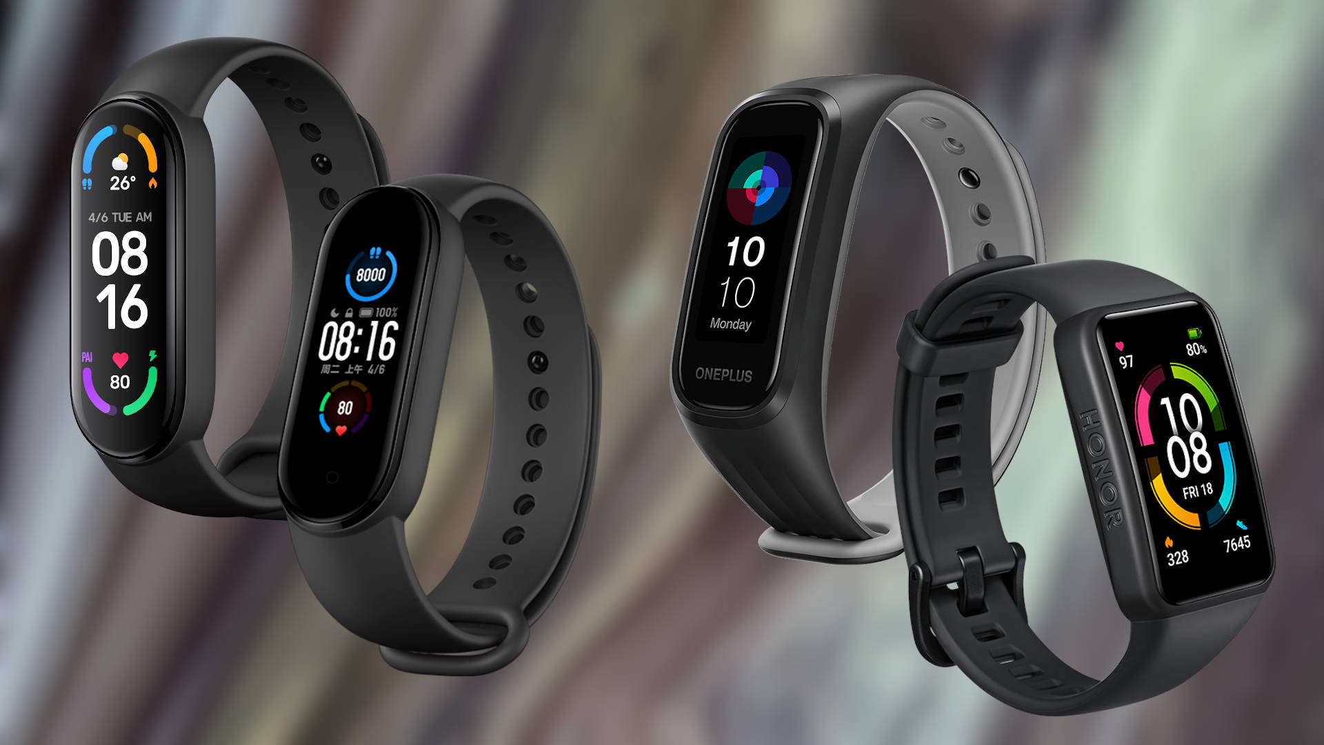 xiaomi mi band 6 vs OnePlus Band vs Xiaomi Mi Band 5 vs Amazfit Band 5 vs Honor Band 6