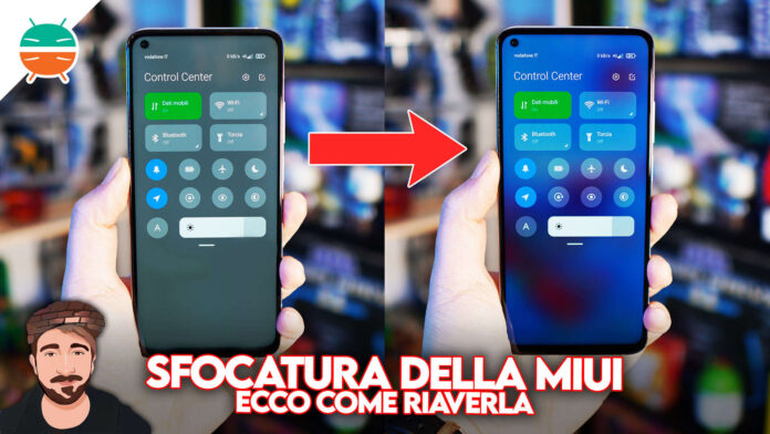 come riavere sfocatura notifiche control center xiaomi miui