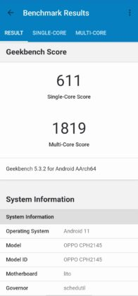 benchmark Find X3 Lite