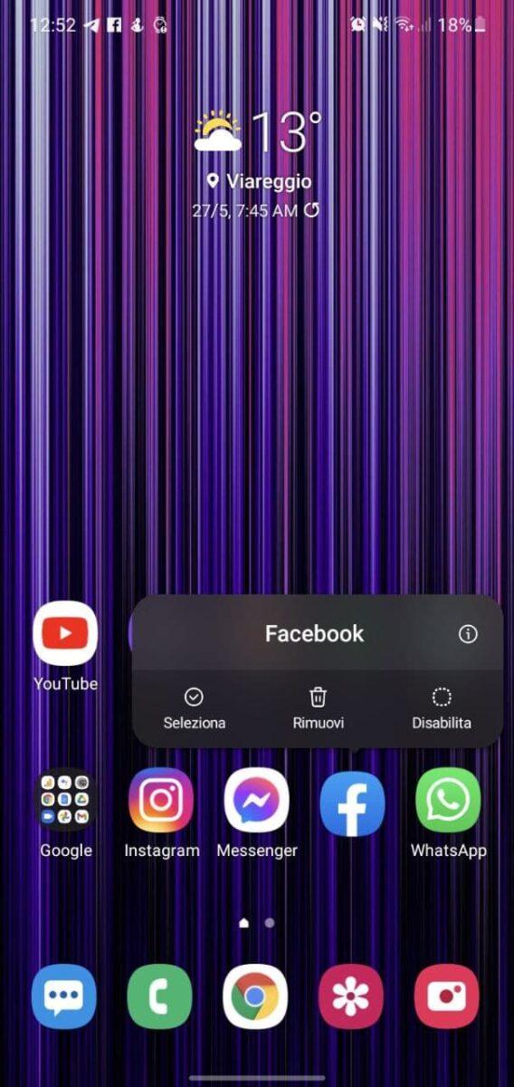 facebook tema nero scomparso