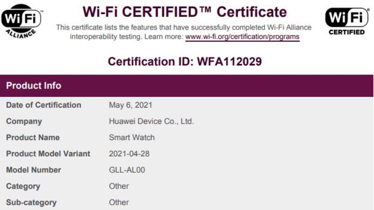 huawei watch 3 hardware certificazione