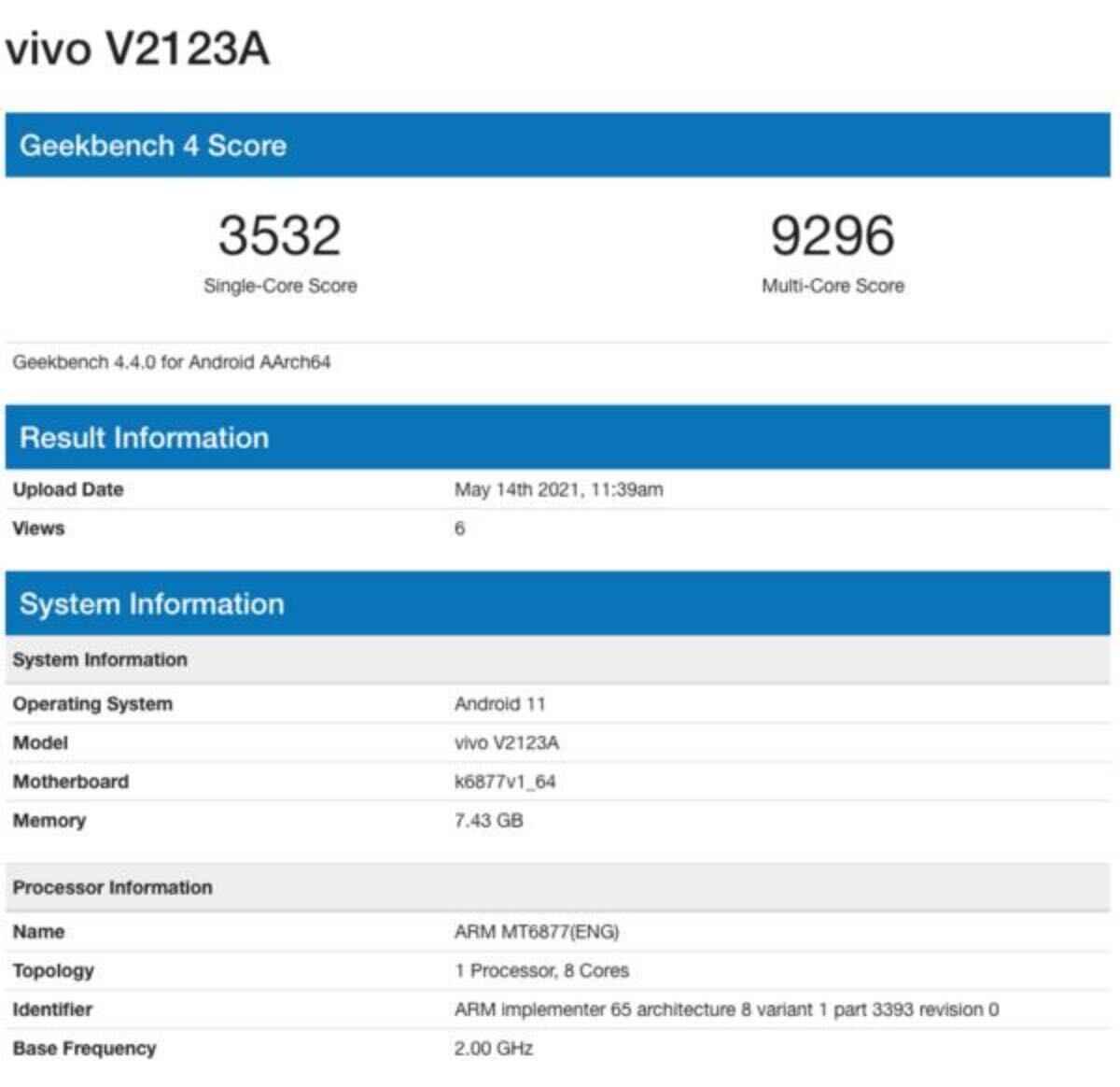 vivo v2123a dimensity 900 specifiche tecniche prezzo uscita leak 2