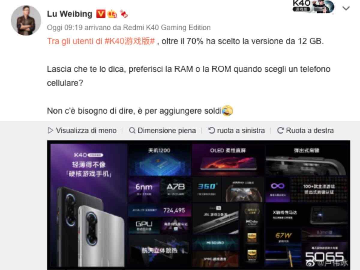 redmi k40 game edition ram scelta utenti 2