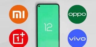 android 12 xiaomi redmi oneplus oppo vivo realme